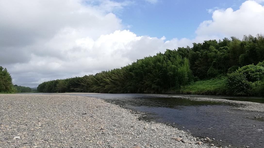 川原で石拾いを楽しむ